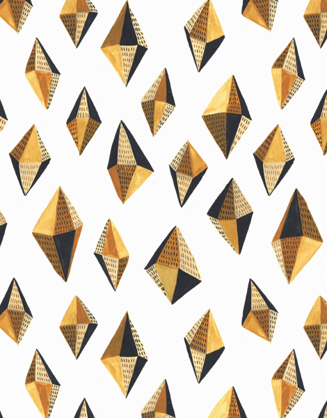 Geometric gold Gems Art Card