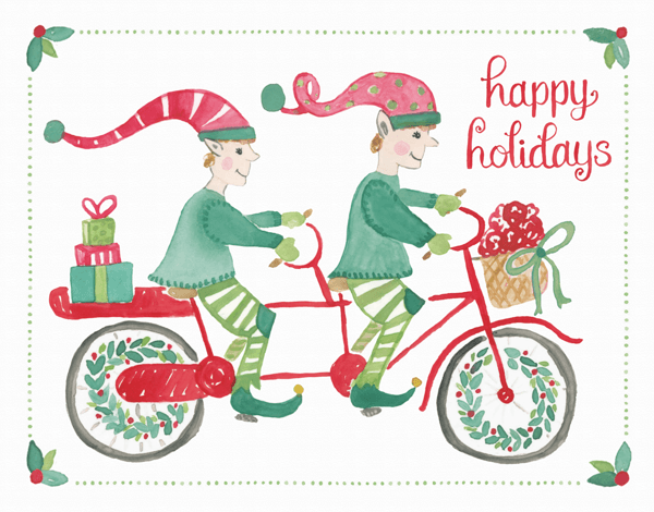 funny hand painted elves on a bike holiday card