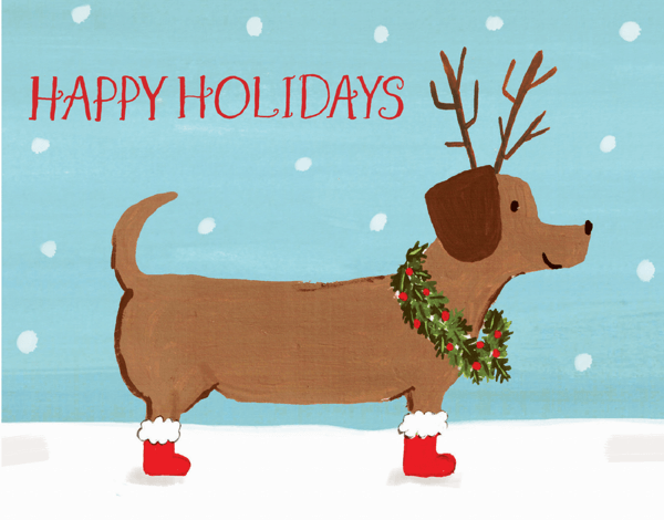 dachshund with a wreath happy holidays card