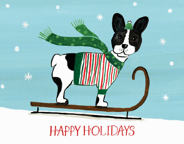 funny dog in a sweater sledding holiday card