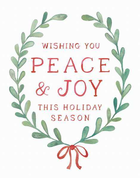 wishing you peace and joy wreath holiday greeting