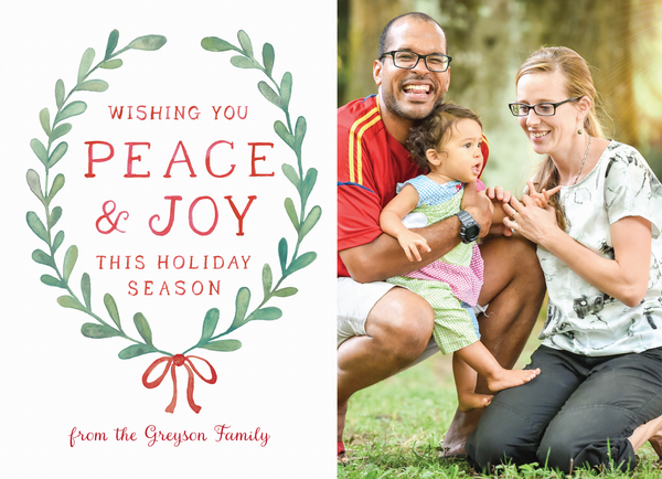wishing you peace green holiday wreath holiday card template