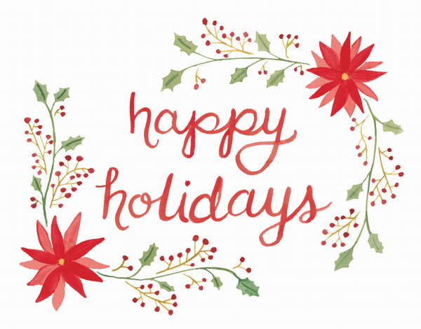 hand painted floral holiday greeting card