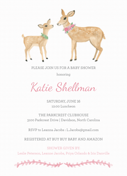 Baby Shower Deer Pink