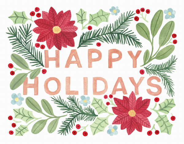 Happy Holidays Muted Floral
