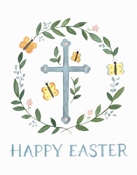 Easter Cross Wreath