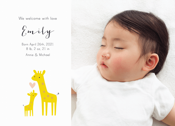 Giraffes Birth Announcement