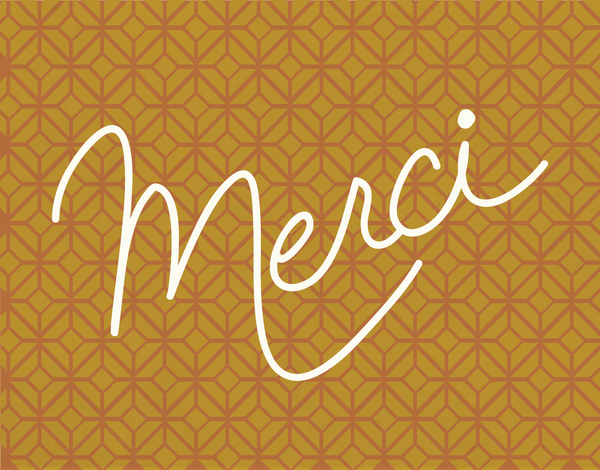 Merci on gold background thank you card