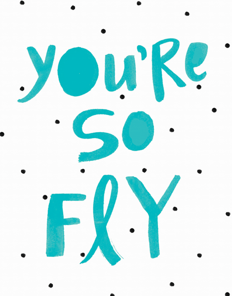 Turquoise You're So Fly Love Card
