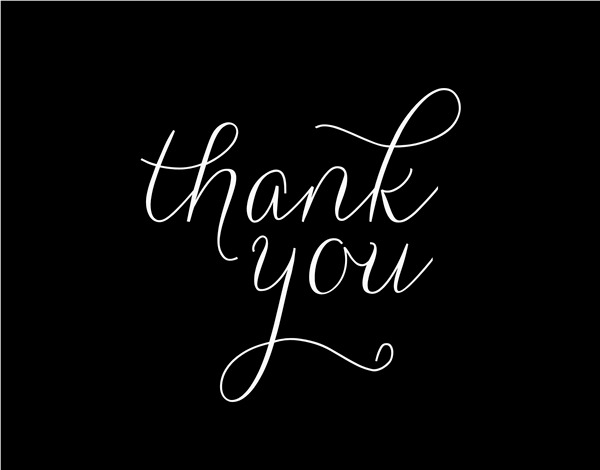Simple Black and White Thank You Card