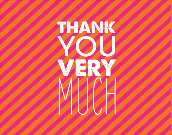 Modern Thank You card with pink Stripes