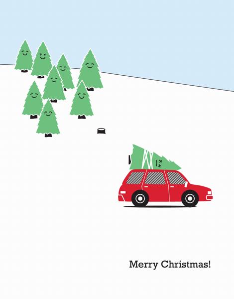 Cute tree Illustration Christmas Card