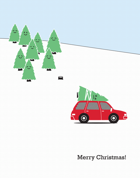 Cute tree Illustration Christmas Card