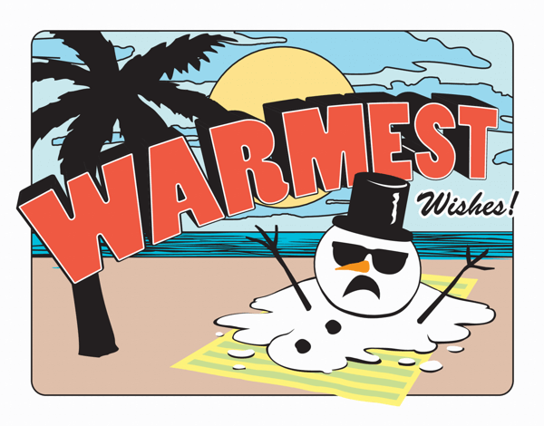 Funny melted Snowman florida Holiday Card