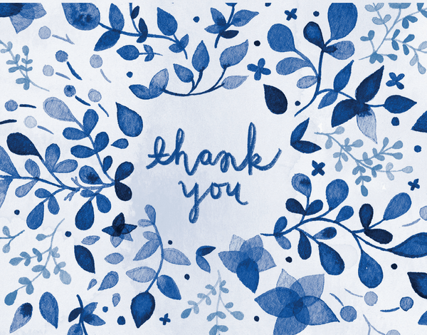 Blue Watercolor Thank You