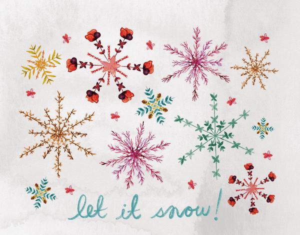 Let It Snow Watercolor