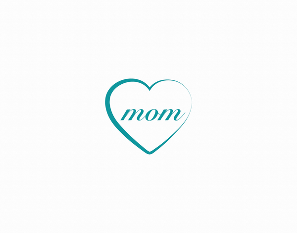 Simple Blue Heart Mother's Day Card