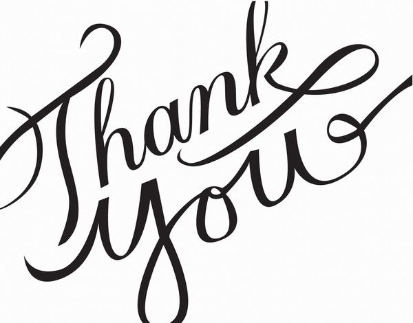 Black Simple Calligraphy Thank You Note