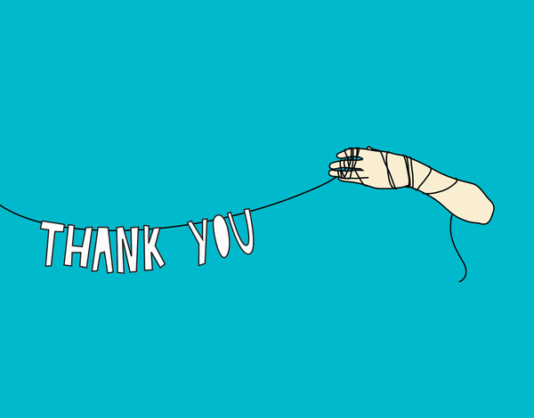 Hand Banner Thank You Card