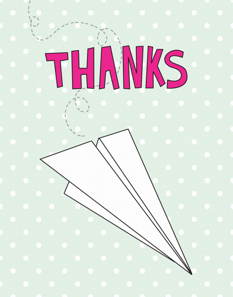 Dotty Paper Plane Thanks Card