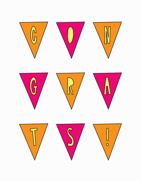 Cheerful Pennants Congrats Card