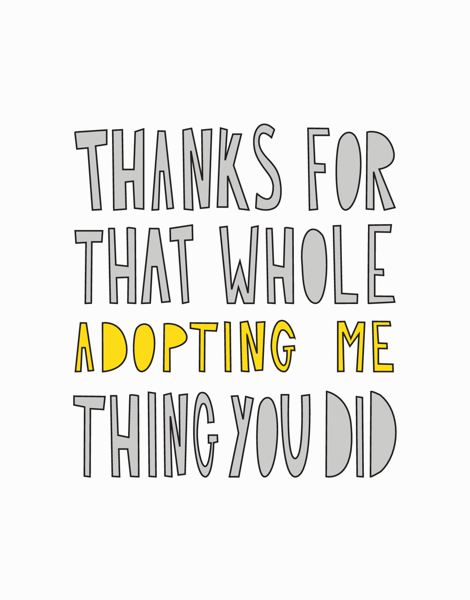 Funny Adoption Thank You Card