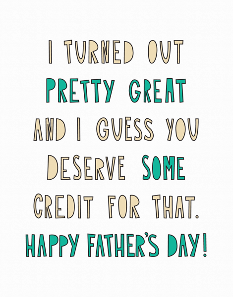 Sarcastic Bold Father's Day Card