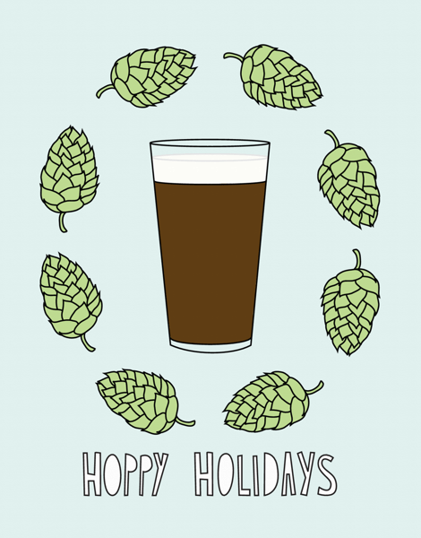 Funny Beer Happy Holidays Card