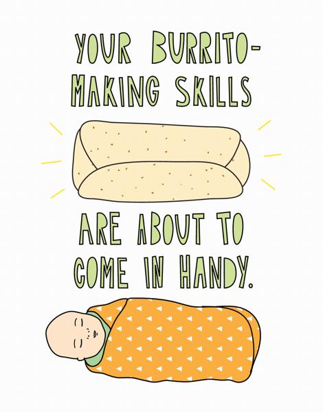 Funny Baby Burrito Congrats Card