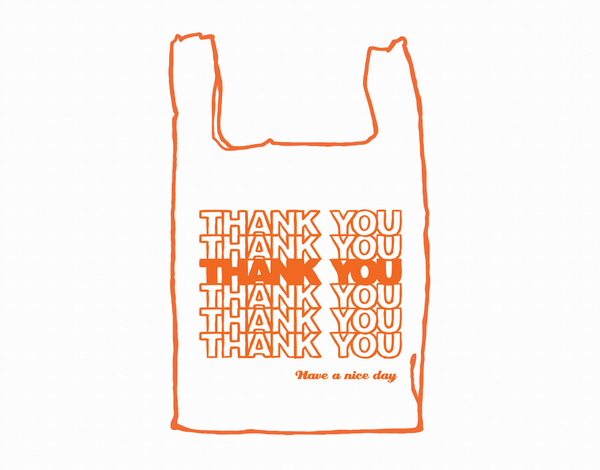 Plastic Thank You Bag Card