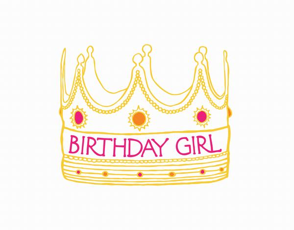Illustrated Birthday Girl Crown Card