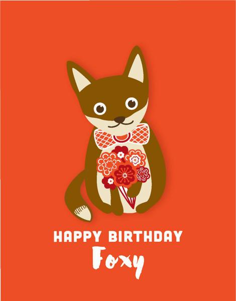 Foxy Flowers Birthday Card