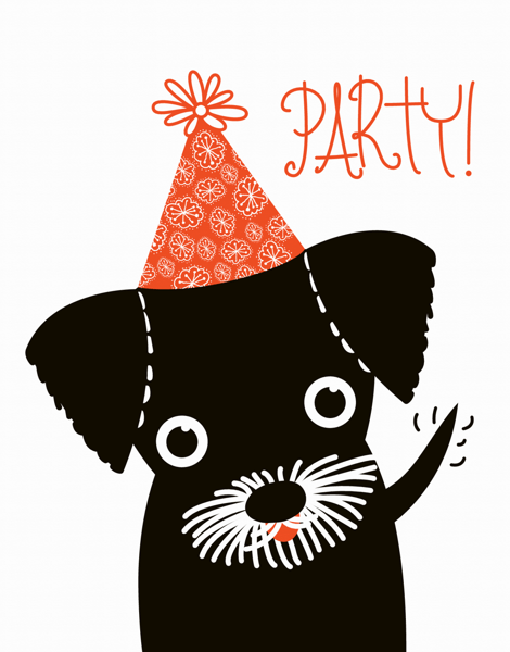 Adorable Puppy Party Birthday Card
