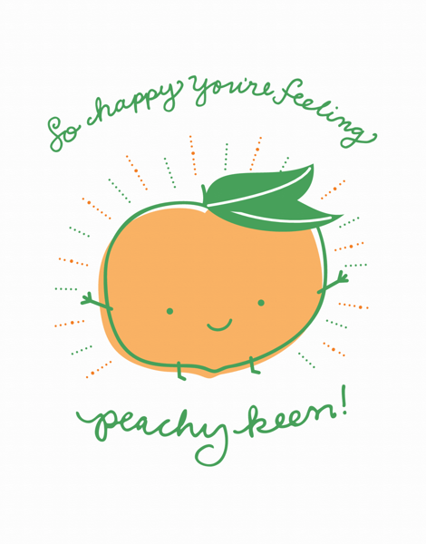 Adorable Peachy Keen Get Well Card