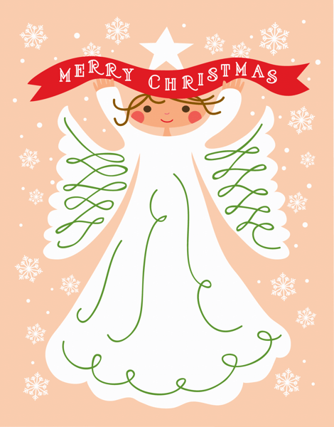 Pretty Angel Merry Christmas Card
