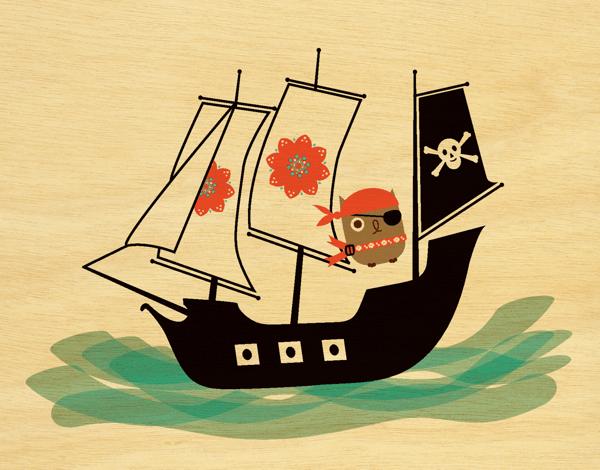Penelope Pirate Owl Friend Card