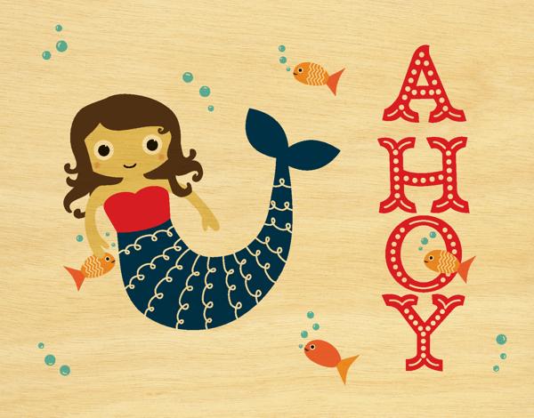Mermaid Ahoy Friend Card