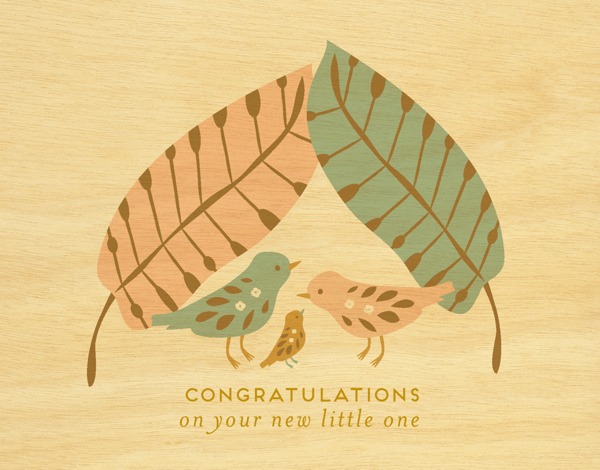 Precious Birds Baby Congratulations Card