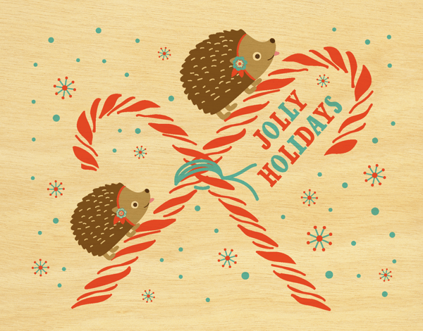 Hedgehogs and candy canes Jolly Holiday Card