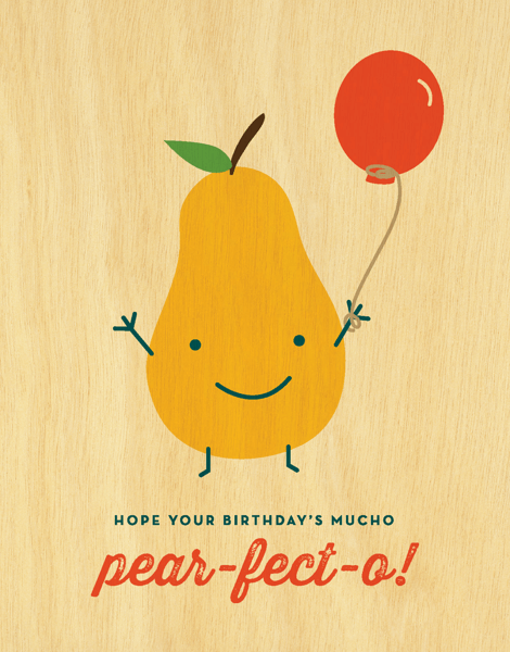 Adorable Pear Pun Birthday Card