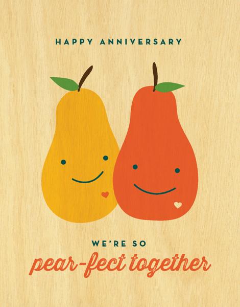 Charming Pear Pun Anniversary Card