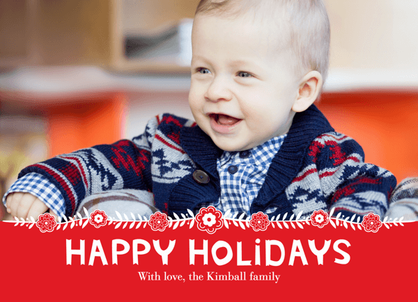 Red Border Custom Photo Holiday Card