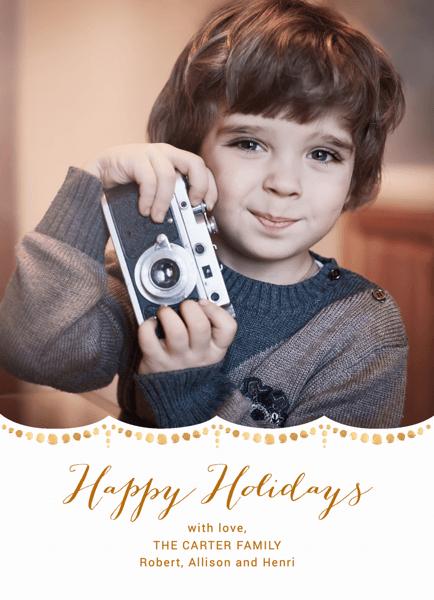 Custom Photo Gold Watercolor Script Holiday Card
