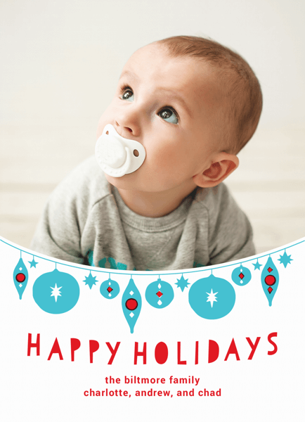 Cute Hanging Ornaments Custom photo Holiday Card
