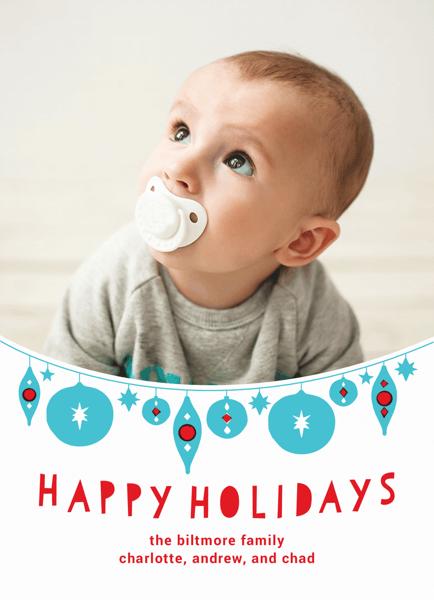 Cute Hanging Ornaments Custom photo Holiday Card