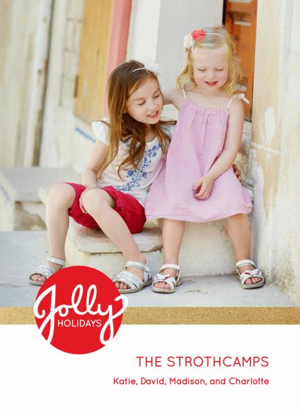 Elegant Gold Stripe Custom Jolly Holiday Card