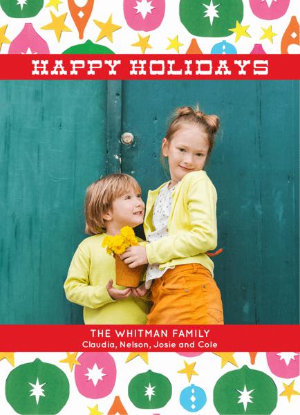 Ornaments Photo Happy Holidays Card