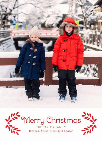 Swiss Garland Custom Merry Christmas Card