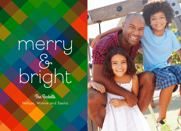 colorful merry and bright photo holiday card