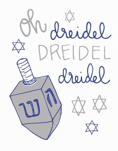 Handwritten Dreidel Hanukkah Card